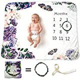 Baby Monthly Milestone Blanket and Registry Set - Purple Blossom with Butterfly - Premium Extra Soft Fleece - Best Photography Backdrop Prop for Newborn Boy & Girl