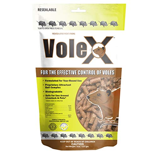 MouseX VoleX 8oz Bag, VoleX is an eco-Friendly Solution, Effective Against All Species of Voles. Safe for use Around People, Pets, Livestock, and Wildlife.