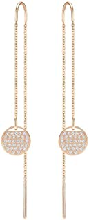 Swarovski Crystal Authentic Ginger Rose Gold Plated Ginger Pierced Chain Earrings