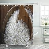 QDYLM シャワーカーテン生白いダイエットタイのライス木製ボウル自然シャワーカーテンセット12フック付き60 x 72インチ防水ポリエステル生地