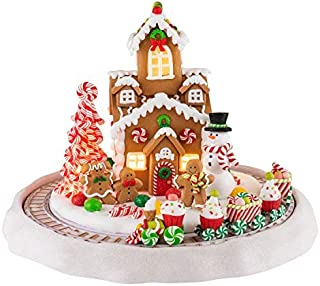 Mr. Christmas 22822 Gingerbread House with Train Holiday Decoration, One Size, Multi
