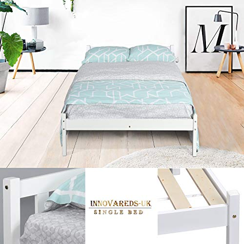 Innovareds-uk Marco de Madera Sólida de Madera Sólida del Pino Sólido Blanco