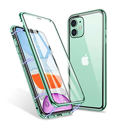 iPhone 11 Case, ZHIKE Magnetic Adsorption Case Front and Back Tempered Glass Full Screen Coverage One-Piece Design Flip Cover [Support Wireless Charging] (Clear Green)