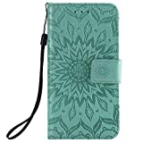 KKEIKO Hülle für Galaxy J2 Core, PU Leder Brieftasche Schutzhülle Klapphülle, Sun Blumen Design Stoßfest HandyHülle für Samsung Galaxy J2 Core - Grün