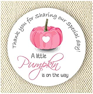 Baby Girl Shower Stickers - A Little Pumpkin is on the way Stickers - Thank you for Celebrating with me