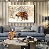 DIY Pintar por números Animal Art Painting Snow Tiger Art Pintura Decorativa Moderna Pintar por numeros para Adultos y ninos con Pincel y Pintura acrílica Pintura por núm50X70cm(Sin Marco)