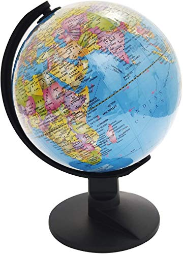 Whopper Educational World Globe - Escritorio giratorio giratorio - Globo antiguo para decoración de hogar para niños y escritorio de oficina 20 cm