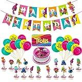 Decoración Globos de Fiesta - Tomicy 36 Pcs Feliz cumpleaños Conjunto de pancartas Troll Papel de Aluminio Globo Látex Confeti Fiesta en Globo Decoración Chica Novia