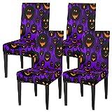 Juego de 4 fundas para sillas de comedor, con diseño de calabazas, elásticas, fundas de silla lavables, protector de asiento extraíble para cocina, hotel, restaurante, fiesta ceremonia