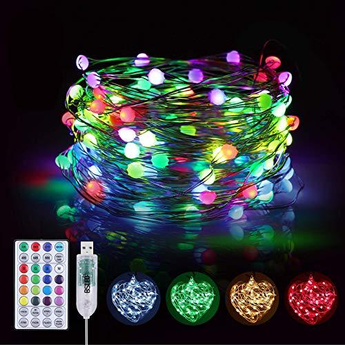 10M Bunt Lichterkette Innen, BSLED 16 RGB Farben 12 Modi USB Kupferdraht Wasserdicht IP65 Außen Farbwechsel LED Lichterkette bunt mit Fernbedienung, Warmes Weiß Deko Fairy Lights für Weihnachten