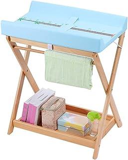 折り畳み式ベビーおむつテーブルベビーケアステーション多機能収納ベビーベッドチェンジテーブルウッド、66×51×78cm