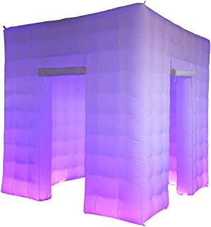 SAYOK Portable Inflatable Photo Booth Enclosure (White, Two Doors, 8.2x8.2x8.2ft), Photo Booth Tent with Air Blower and Remote Controller, Photo Booth Backdrop for Wedding Event