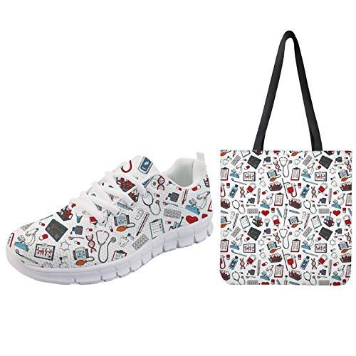 UOIMAG, Zapatos de Enfermera para Mujer con Bolso de Compras, Zapatillas Deportivas...