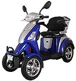 Scooter eléctrico de movilidad todo terreno extra estabilidad 4 ruedas motor 800 watt 25 km/h 60V 100AH incluye accesorios Azul Green Power