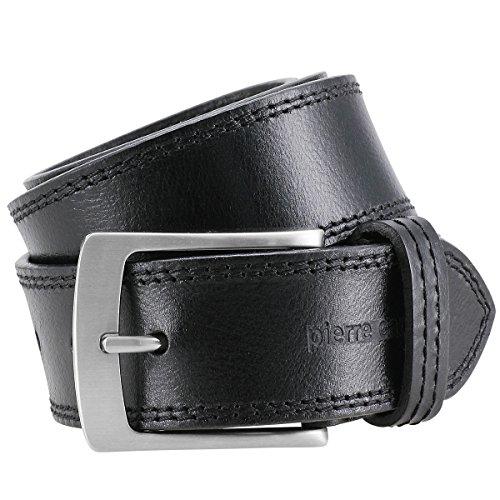 Pierre Cardin Cinturón de cuero para hombre/cinturón para hombre, cinturón de cuero de grano completo XL, negro