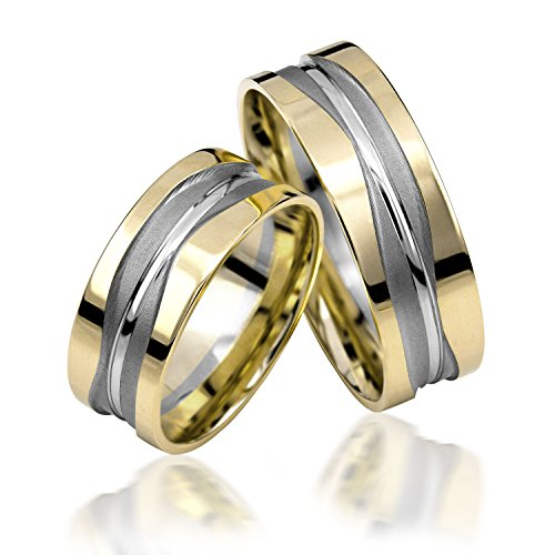 333 GOLD Trauringe in Bicolour inkl. Gravur, Paarpreis von Rubin Juwelier