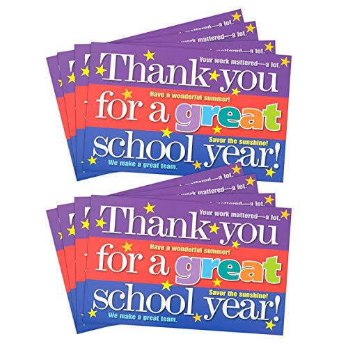 Teacher Peach'End of School Year' Positive Postcards - Motivational Thank You Notes from Teachers - Classroom Teaching Supplies for Preschool, Kindergarten, or Elementary School Teachers - 50 Cards