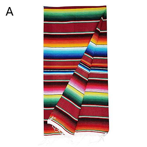 Funihut tafelloper, Mexicaanse stijl, boogpatroon, katoen, gestreept, 150 x 200 cm