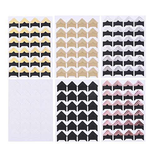 TOYANDONA Adesivos de canto de foto com 30 folhas autoadesivos de papel sem ácido para montagem de fotos, cantos para scrapbook, álbum de fotos de bebê, lactose