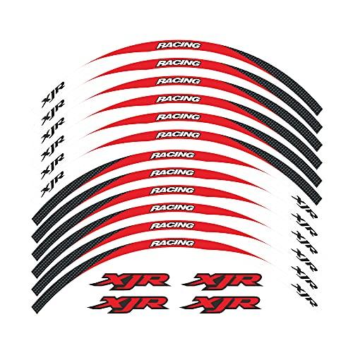 Elegantes Adhesivos Impermeables para Llantas, adecuados para Llantas con un diámetro de 17 Pulgadas, Hermoso Papel para decoración de Llantas For Yamaha XJR All Years (3-Rojo)