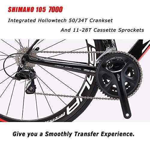 SAVADECK Carbon Rennrad, Herd 6.0 T800 Kohlefaser 700C Rennrad Shimano 105 R7000 Groupset 22 Geschwindigkeit Kohlenstoff Radsatz Sattelstütze Gabel Ultra-Licht Fahrrad (Rot Weiß, 44cm) - 5