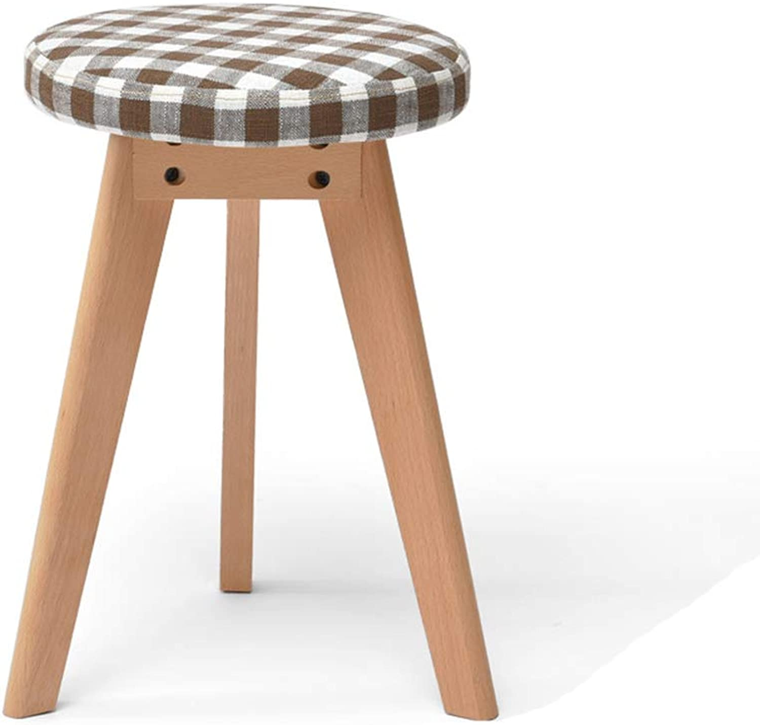 XSJJ Stool, Home Solid Wood Round Fabric Makeup Home Change shoes Pad Table Table Stool 6 colors Optional Wooden Bench (color   Style)