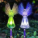 Lampada solare da giardino, 2 confezioni di ali colorate, impermeabile, a energia solare, per giardino, cimitero, marciapiede, cortile, prato (multicolore)
