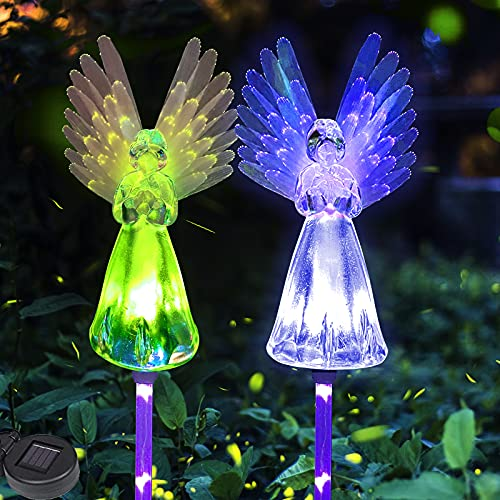 Luz solar de ángel – Lámpara solar de jardín, 2 paquetes de luces coloridas de alas impermeables al aire libre solar para caminos de ángel, para jardín, cementerio, acera, patio, césped (multicolor)