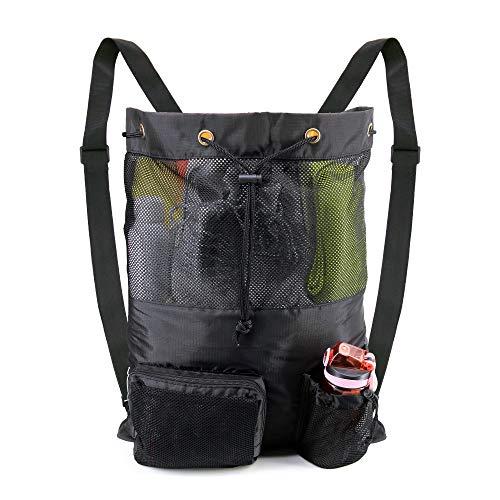 BeeGreen Black Swim Bag for Swimmers Large Mesh Backpack for Beach Gear Pool Mesh Pool Bag for Sport Workout Men Women Kid