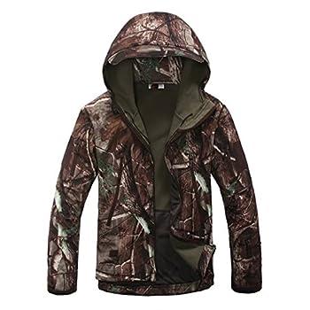 Eglemall Men s Outdoor Hunting Soft Shell Waterproof Tactical Fleece Jackets  XXX-Large Tree Camo