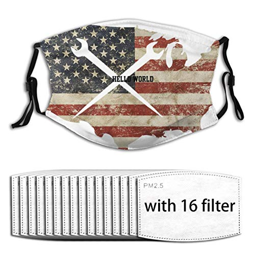 Ironworker Crossed Tools Us Flag Man's Womans Reusable Face Mask Mouth Mask Balaclava with Filter
