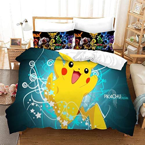 SK-YBB Pokemon Pikachu Parure de lit pour enfant, fille et garçon, avec taie d'oreiller en microfibre, housse de couette 220 x 240 cm + 80 x 80 cm