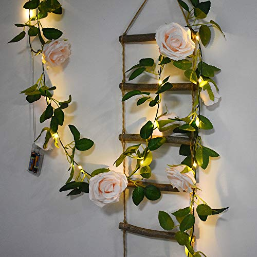 BuyWin Colorful Rose Fairy String Lights Artificial Flower Garland with LED Copper Light Strings, Rose Vine Lights Decor for Christmas Wedding Bouquets Party Home Window(Ivory)