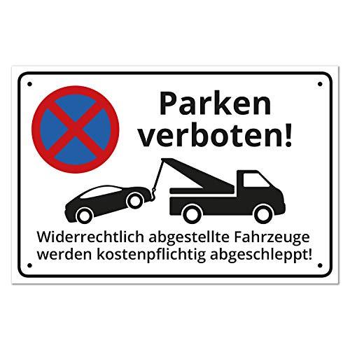 Schild Parken verboten, Alu, 30x20cm, 3mm Stärke, inkl. Lochbohrung, witterungsfest + UV-Schutz