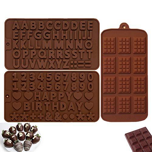 Olywee Silikon-Schokoladenformen – 3 Stück Schokoladen-Buchstaben und Zahlen, antihaftbeschichtet, für Schokolade, Süßigkeiten, Gelee, Pudding, Muffins, Kerzen, Seifen, Kuchen, Eis, Fondant