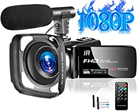 Video Camera Camcorder with Microphone Full HD 1080P 30FPS 24MP Vlogging Camera for YouTube 16X Digital Zoom IR Night Vision Slow Motion Time Lapse with Remote Control Lens Hood