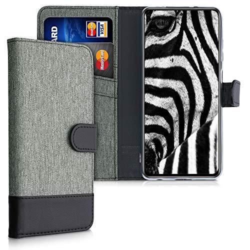 kwmobile Wallet Hülle kompatibel mit Xiaomi Poco X3 NFC/Poco X3 Pro - Hülle mit Ständer - Handyhülle Kartenfächer Grau Schwarz