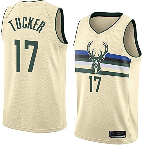 ZMIN Baloncesto de los Hombres NBA Jerseys Bucks # 17 Tucker Jersey - Chaleco sin Mangas para transpirabajo Bordado clásico Ropa Superior,Beige,M
