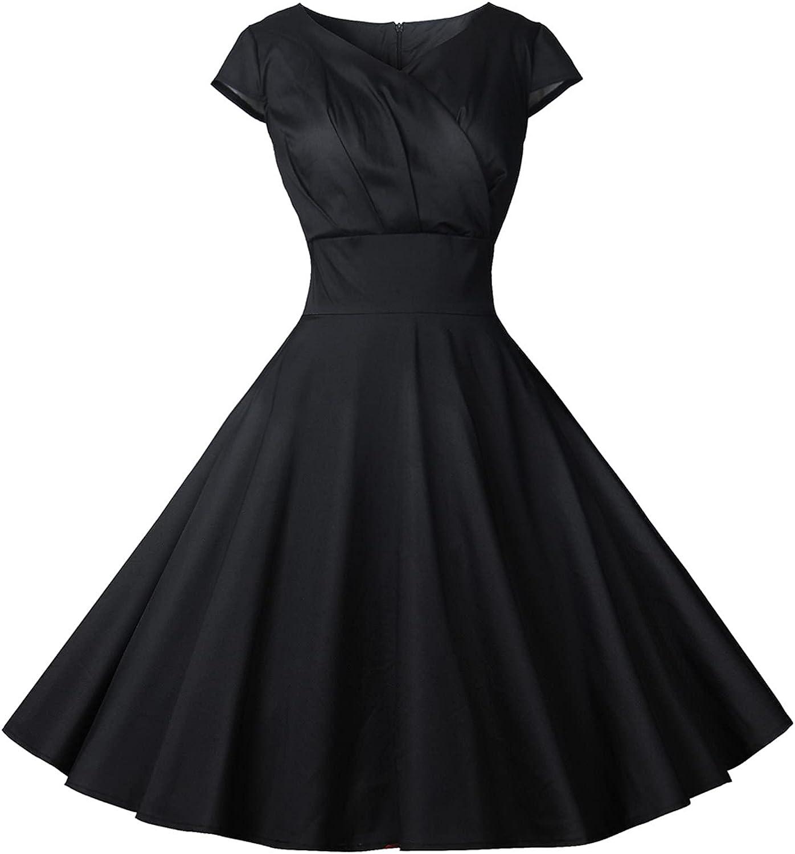 FRSH MNT Womens Vintage Dress Sexy V Neck Party Swing Dresses Summer Sleeveless Cocktail Dresses
