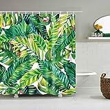 Huryfox Duschvorhang-Set aus Stoff mit 12 Haken, Badezimmerdekorationsvorhänge, wasserdichter Badvorhang für Badewanne (dunkelgrünes Blatt, 183 x 183 cm)
