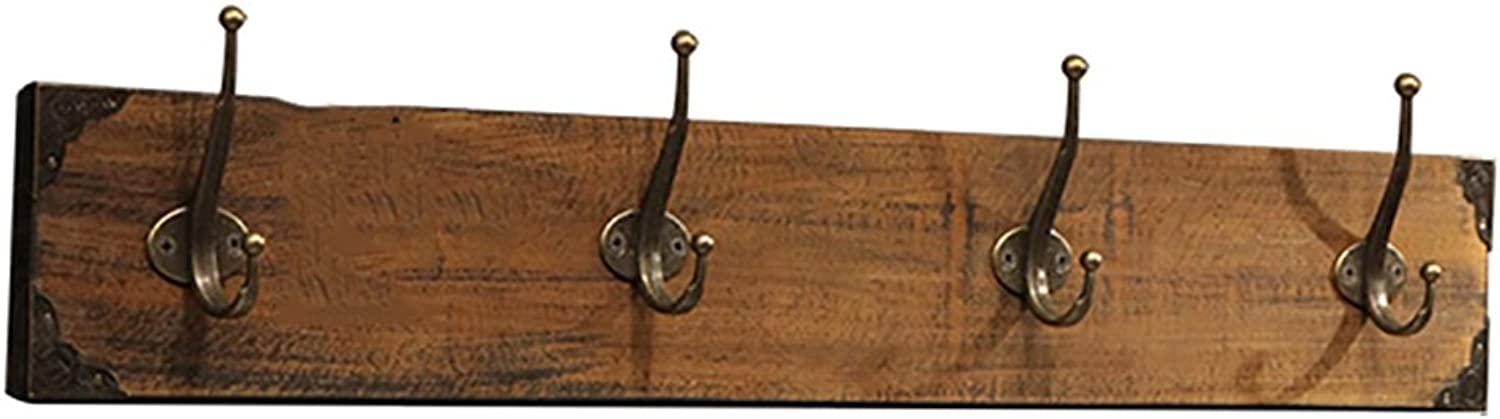 QIANGDA Coat Hat Rack Wall-Mounted Solid Wood with Metal Hooks, 12 cm Width 2 colors 4 Sizes Optional (color   2 , Size   80  12cm)