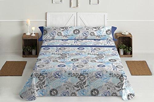 Gale Hayman Style Lois Juego Sábanas, Algodón-Poliéster, Azul, Queen, 200x150x3 cm