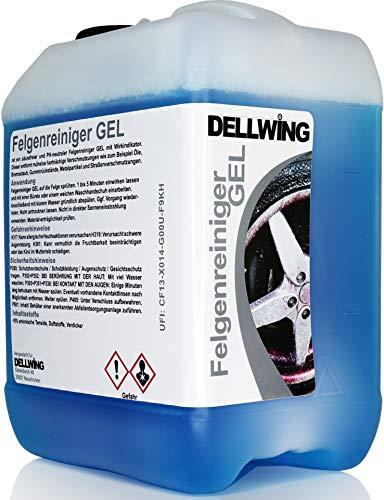 DELLWING Felgenreiniger Gel mit Wirkindikator 2,5 Liter - Säurefreier Felgenreiniger für die mühelose Entfernung von hartnäckigen Verschmutzungen