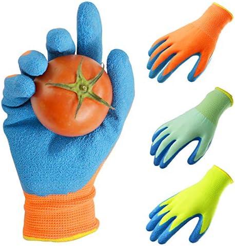 GLOSAV 3 Pairs Kids Gardening Gloves for Yard Work Children Latex Garden Gloves for Age 2 12 product image