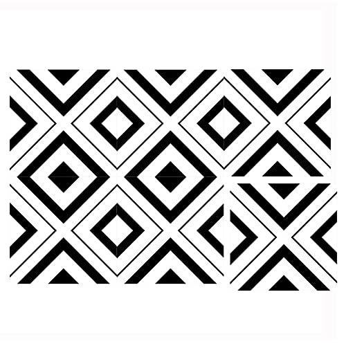 WDSWBEH Baldosas De Cerámica Esmaltadas De Arte Geométrico Vintage, Azulejo De Cerámica para Piso Y Pared De Mosaico De 11.8 X 11.8 Pulgadas, para Cuarto De Baño Cocina Dormitorio,F30008