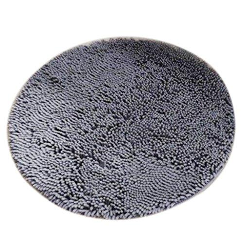 MagiDeal Alfombra Baño de Microfibra Absorbente Redonda Antideslizante Complimentos Decoraación de Casa - Gris, 80cm