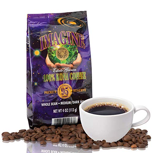 Imagine Kona Organic Coffee Beans | Arabica Kona Beans | Top Grade Air Roasted | Medium Dark Roast | Organic Whole Bean - 4oz