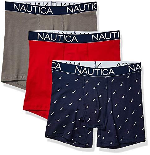 Nautica Men's 3-Pack Classic Underwear Cotton Stretch Boxer Brief, Red/Platinum Grey/Sail Printpeacoat, Small