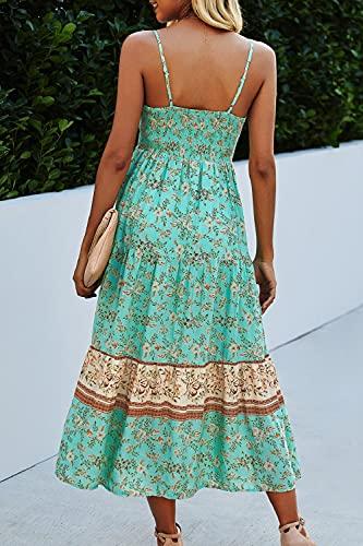 YACUN Vestido Largo Mujer Verano Boho Floral Tirantes Vestidos de Playa Casual Verde Claro M