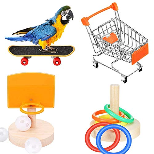 Tamkyo 4-Piece Bird Training Toy Set, Including Shopping Cart Basketball Stacking Toy Skateboard Parrot Intellectual Toy